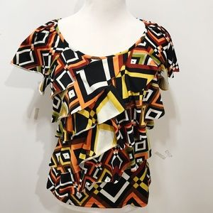 Notations Size S Knit Top Multicolor Short Sleeve